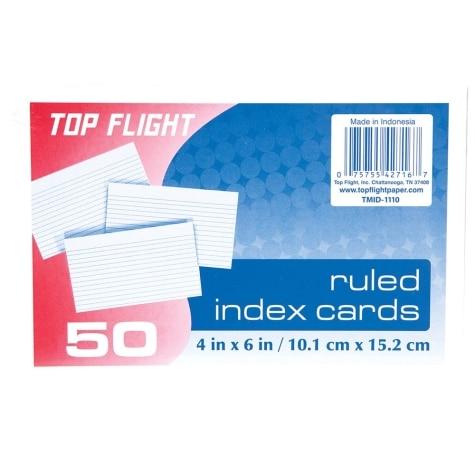 College Ruled White Index Cards, 4