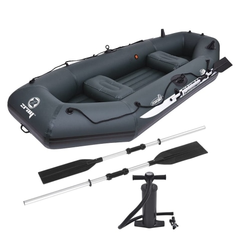 9 5' Zray Fishman II 400 3-Person Inflatable Fishing Boat with Oars and Pump