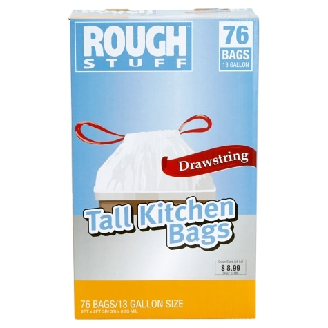 Rough Stuff 13 Gal Tall Kitchen Trash Bags With Drawstring 76 Count