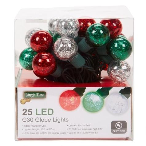 Led Christmas Tree Lights.Jingle Time Set Of 25 Led G30 Tinsel Globe Christmas String Lights