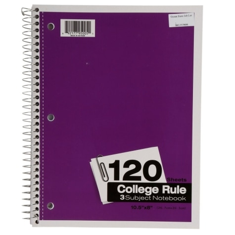 3 Subject College Ruled Spiral Notebook, 10 5