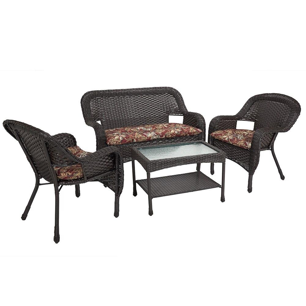 Resin Wicker 4 Piece Patio Furniture Set
