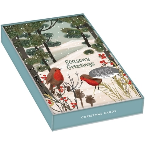 Unique Boxed Christmas Cards.Winter Blush Boxed Christmas Cards 18 Pack