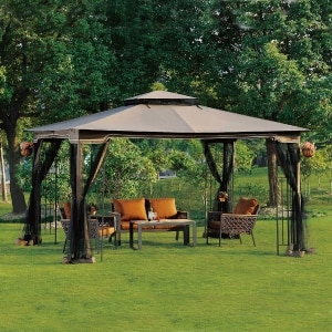 Regency Ii 10 X 12 Gazebo With Mosquito Netting Brown