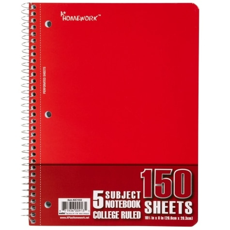 5 Subject College Ruled Notebook, 10 5