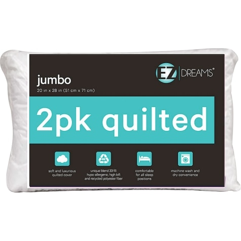 Quilted Jumbo Bed Pillow 2 Pack