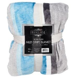 Parklane Royal Plush Multi Stripe Blanket