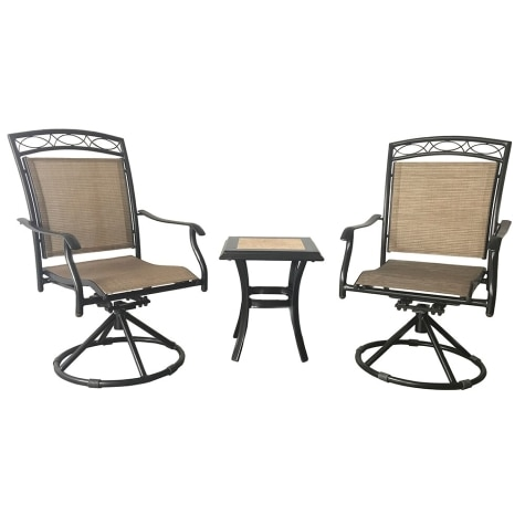 Sensational 3 Piece Steel Swivel Sling Chair Set With Tile Top Steel Table Download Free Architecture Designs Rallybritishbridgeorg